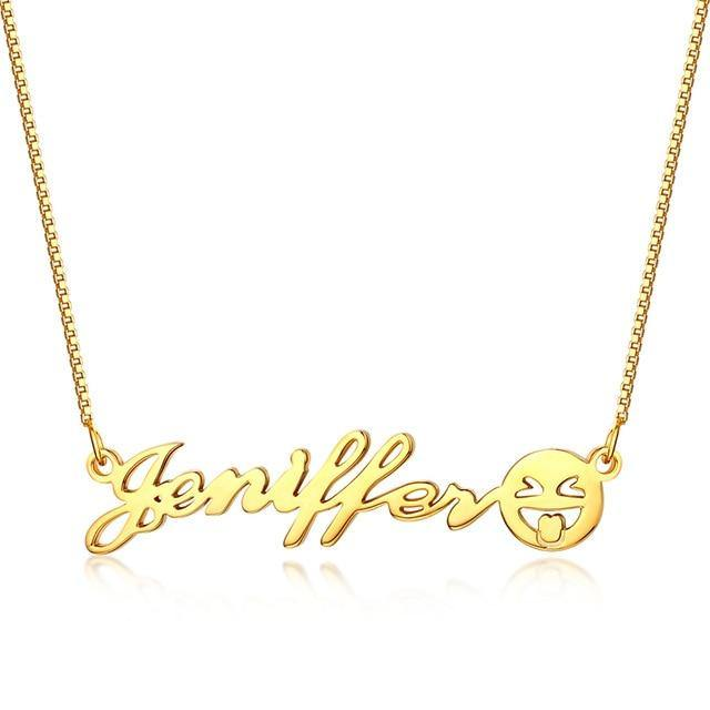Buy Custom Name Necklace With Emoji Face From Joseod Jewelry