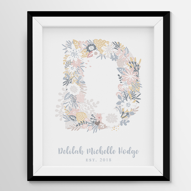 Digital Print  Personalized Wall Art  - Floral Letter
