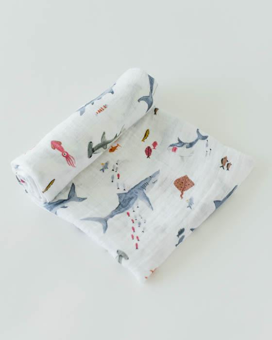Cotton Muslin Swaddle Blanket - Shark