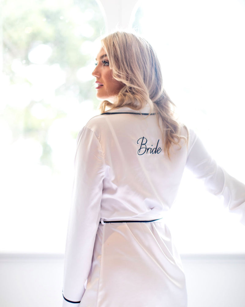 Luxe Signature Personalised Robe - White/Navy