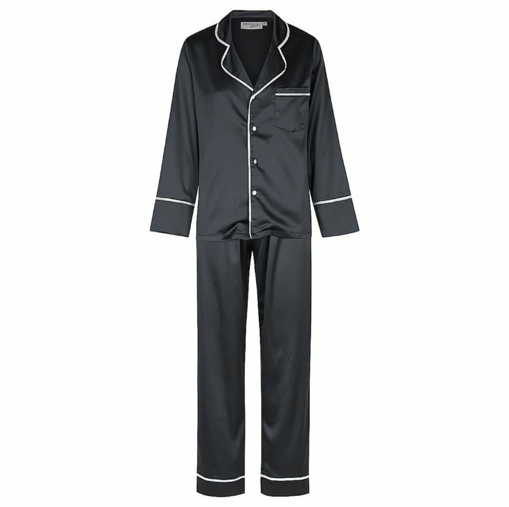 Luxe Personalised Pyjama Winter Set - Long Sleeve & Long Pants Black/White
