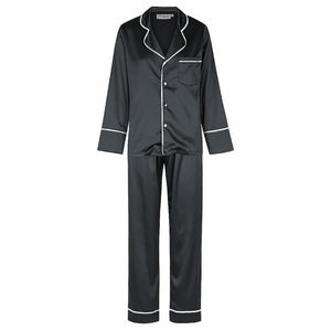 Luxe Satin Personalised Pyjama Winter Set - Long Sleeve & Long Pants Black/White