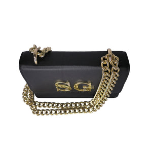 Black Leather Chain Bag With Gold Hardware