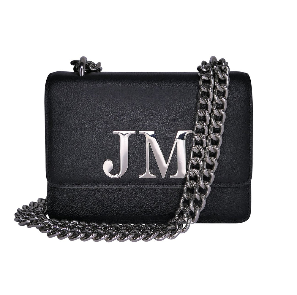 Black Leather Chain Bag With Silver Hardware