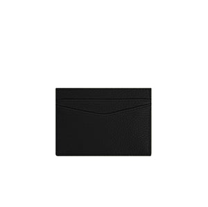 Black Leather Card Holder With Silver Hardware