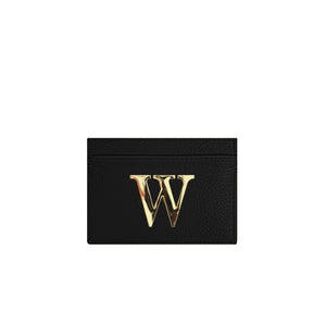 Black Leather Card Holder With Gold Hardware