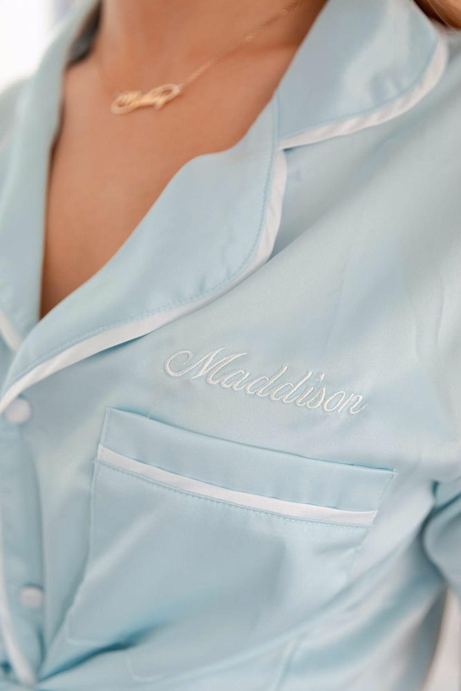Luxe Personalised Pyjama Set - Short Sleeve Pastel Blue/White