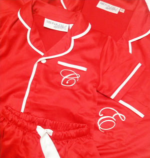 FAULTY // Mini Luxe Personalised Pyjama Set - Short Sleeve Red/White ***