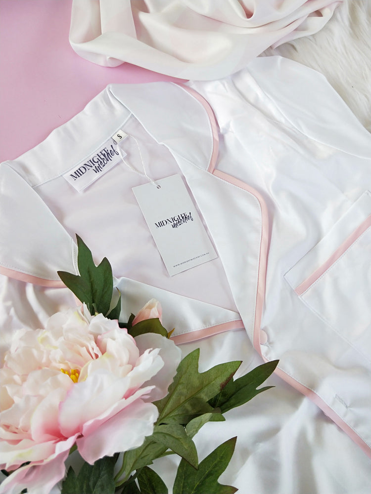 Luxe Personalised Pyjama Set - Short Sleeve White/Baby Pink