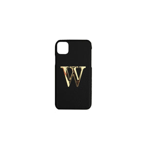 Black Leather iPhone Case With Gold Hardware