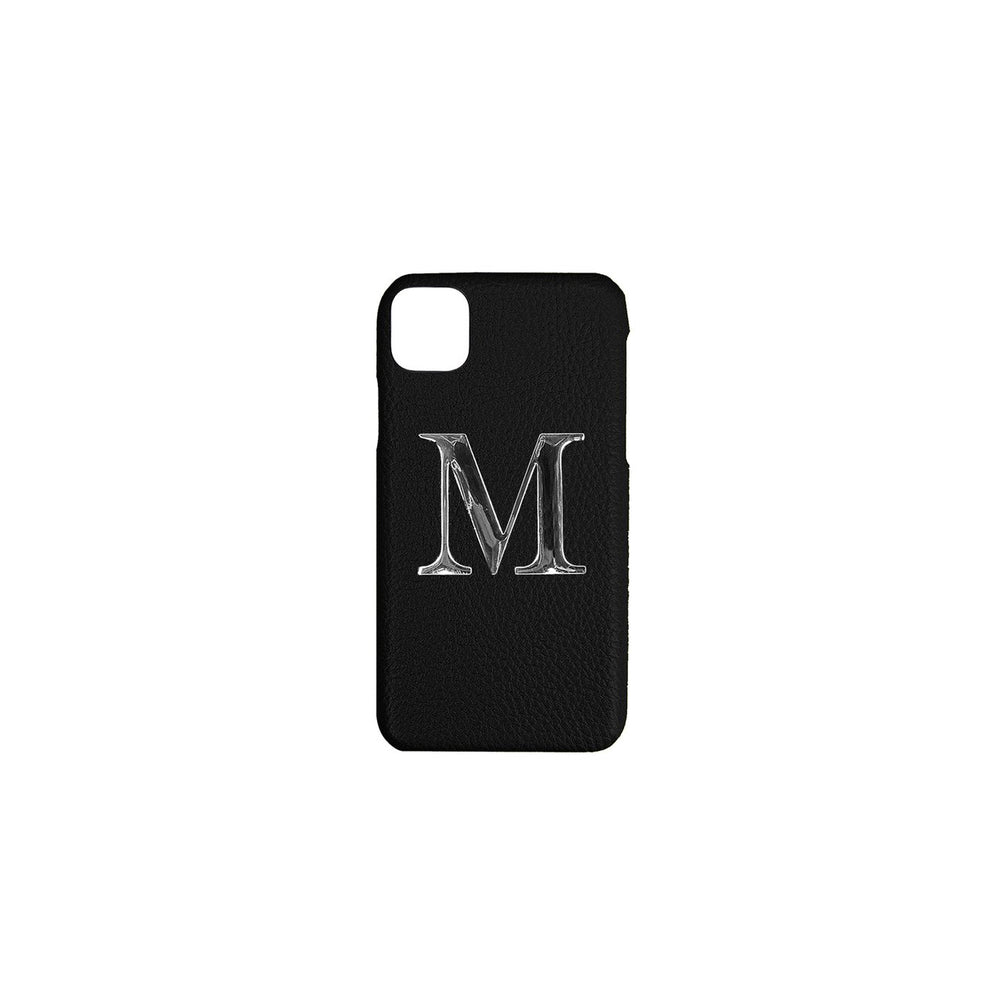 Black Leather iPhone Case With Silver Hardware