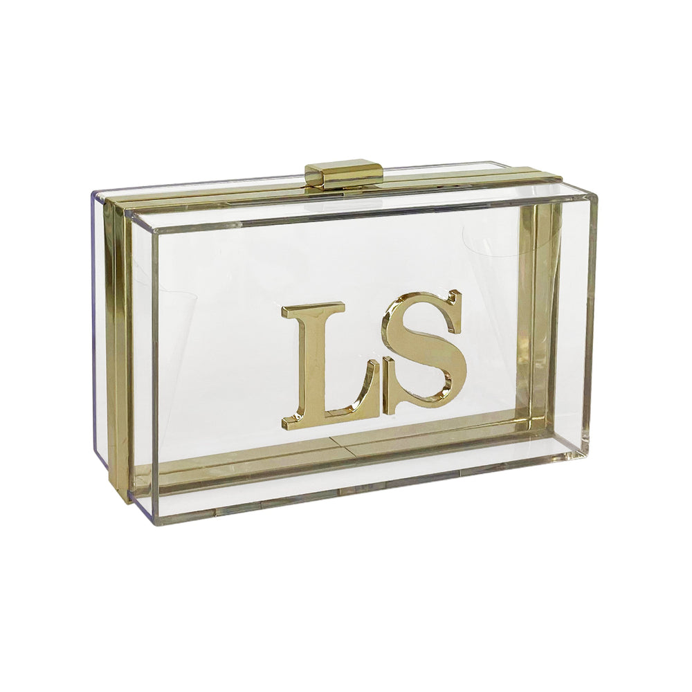 Clear Box Clutch Bag Gold Hardware