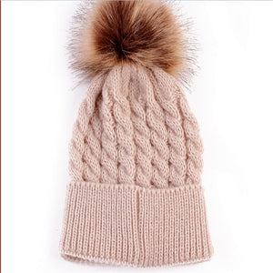 Baby Knitted Fur Pom Pom Hat