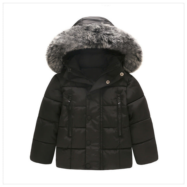 Down Winter Jacket with Faux Fur