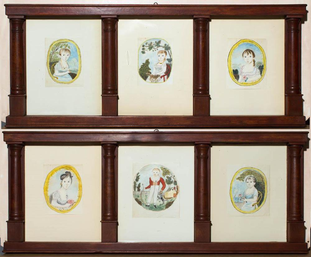 A rare family group of six folk art watercolor, ink, and pencil on paper portraits from the Wright-Gleason family of Concord, Massachusetts.