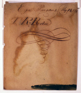 "Watercolor, pencil, and ink portrait of ""Ezra Parsons, May 14, 1831"" by ""T.R. Robie""."