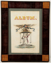 "Load image into Gallery viewer, ""Album"" A beautifully detailed and symbol-filled title page for a school girl's album, drawn by a professional ornamental painter, Kinsley C. Gladding (1802-1866)."