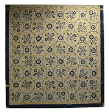 Load image into Gallery viewer, A fine and rare example of an embroidered indigo and ivory colored wool bed cover from the early nineteenth century.