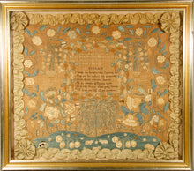 Load image into Gallery viewer, A superb Chester County, Pennsylvania needlework picture, signed Mary Ann Sharpless and dated 1824, worked in silk on linen and with a ribbon border.