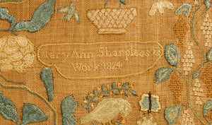 A superb Chester County, Pennsylvania needlework picture, signed Mary Ann Sharpless and dated 1824, worked in silk on linen and with a ribbon border.