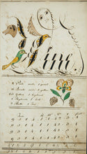 Load image into Gallery viewer, Drawings from an extraordinary decorated copy book by Dolle Green of Weare, New Hampshire, circa 1794.