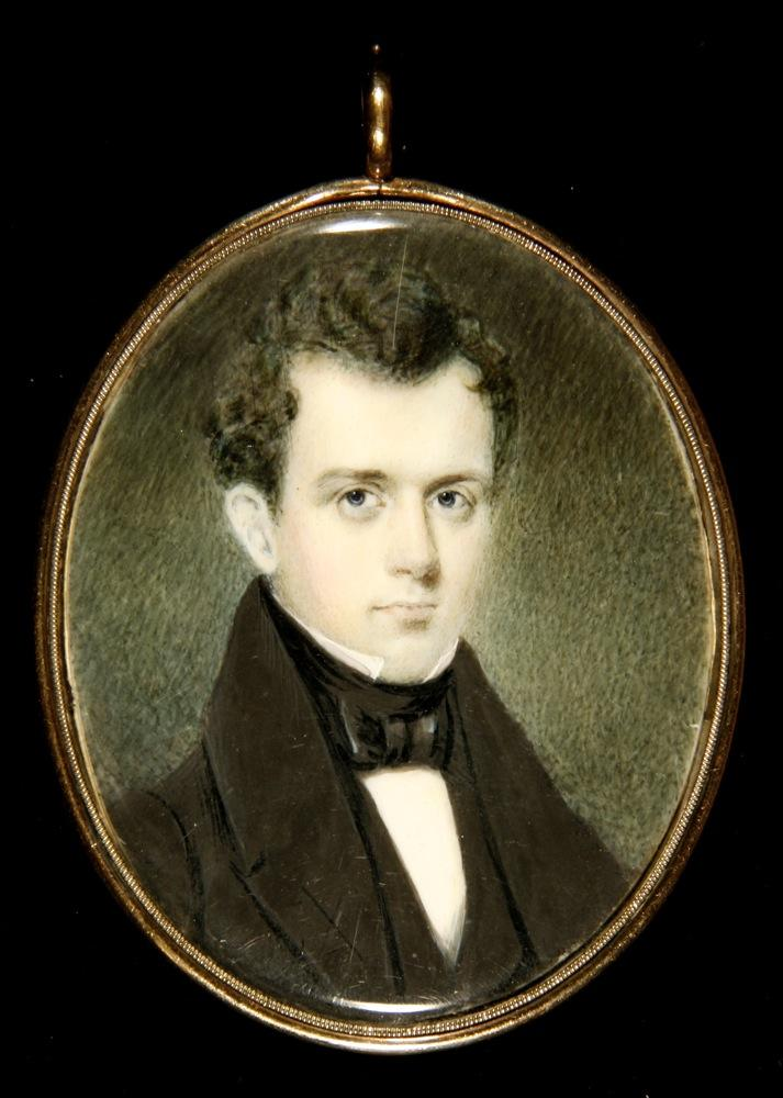 Miniature portrait of a man, painted in watercolor and in a gilt copper case.