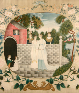 """Queen Blanche Releasing the Captives,"" a painting in watercolor on silk with embroidered gold decoration, by Eliza Bellows of Walpole, New Hampshire, circa 1817."
