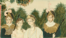 "Load image into Gallery viewer, ""Queen Blanche Releasing the Captives,"" a painting in watercolor on silk with embroidered gold decoration, by Eliza Bellows of Walpole, New Hampshire, circa 1817."