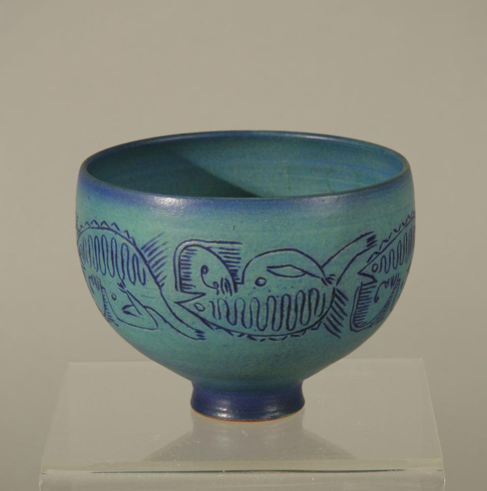 Blue Inscribed Bowl by Edwin and Mary Scheier