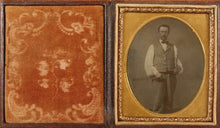 Load image into Gallery viewer, Sixth Plate Tintype of a Man Holding a Carpenter's Square and a Saw