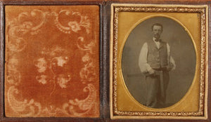 Sixth Plate Tintype of a Man Holding a Carpenter's Square and a Saw