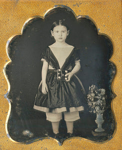A double-cased pair of sixth plate daguerrotype portraits of a young brother and sister.