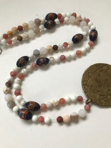 Combination of African trade beads and Venetian feather painted trade beads
