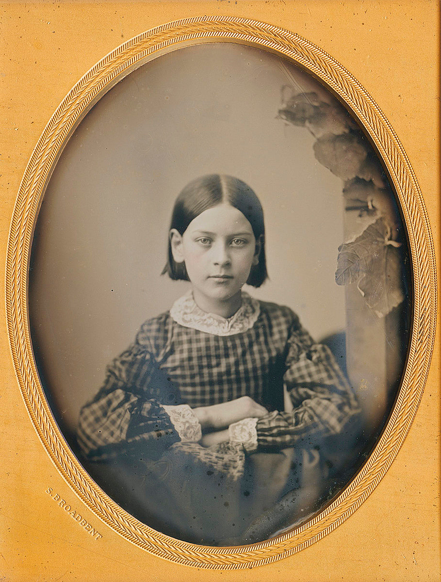 An elegantly posed quarter plate daguerreotype of a young woman.