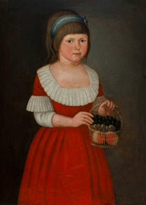 GIRL WITH A BASKET OF FRUIT, circa 1785 Attributed to Abraham Delanoy, Jr., American (1742-1795)
