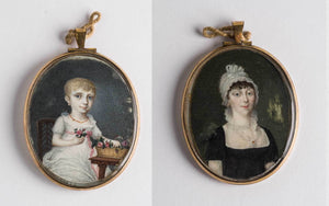 A beautiful English double-sided portrait in a pendant case.