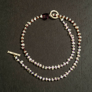 Pearl and Small Bead Necklace with Crimson Colored Glass Heart