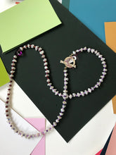 Load image into Gallery viewer, Pearl and Small Bead Necklace with Crimson Colored Glass Heart