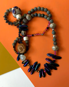Necklace with iridescent beads