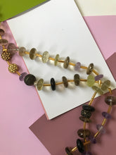 Load image into Gallery viewer, Citrine & Amethyst Colored Beaded Necklace.
