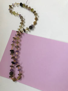 Citrine & amethyst colored beaded necklace.