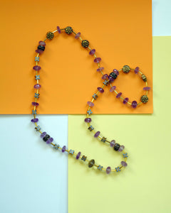 Amethyst and gold beaded necklace