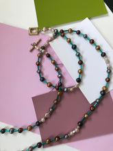 Load image into Gallery viewer, Beaded Necklace with Pearls and Metallic Turquoise Spacers.