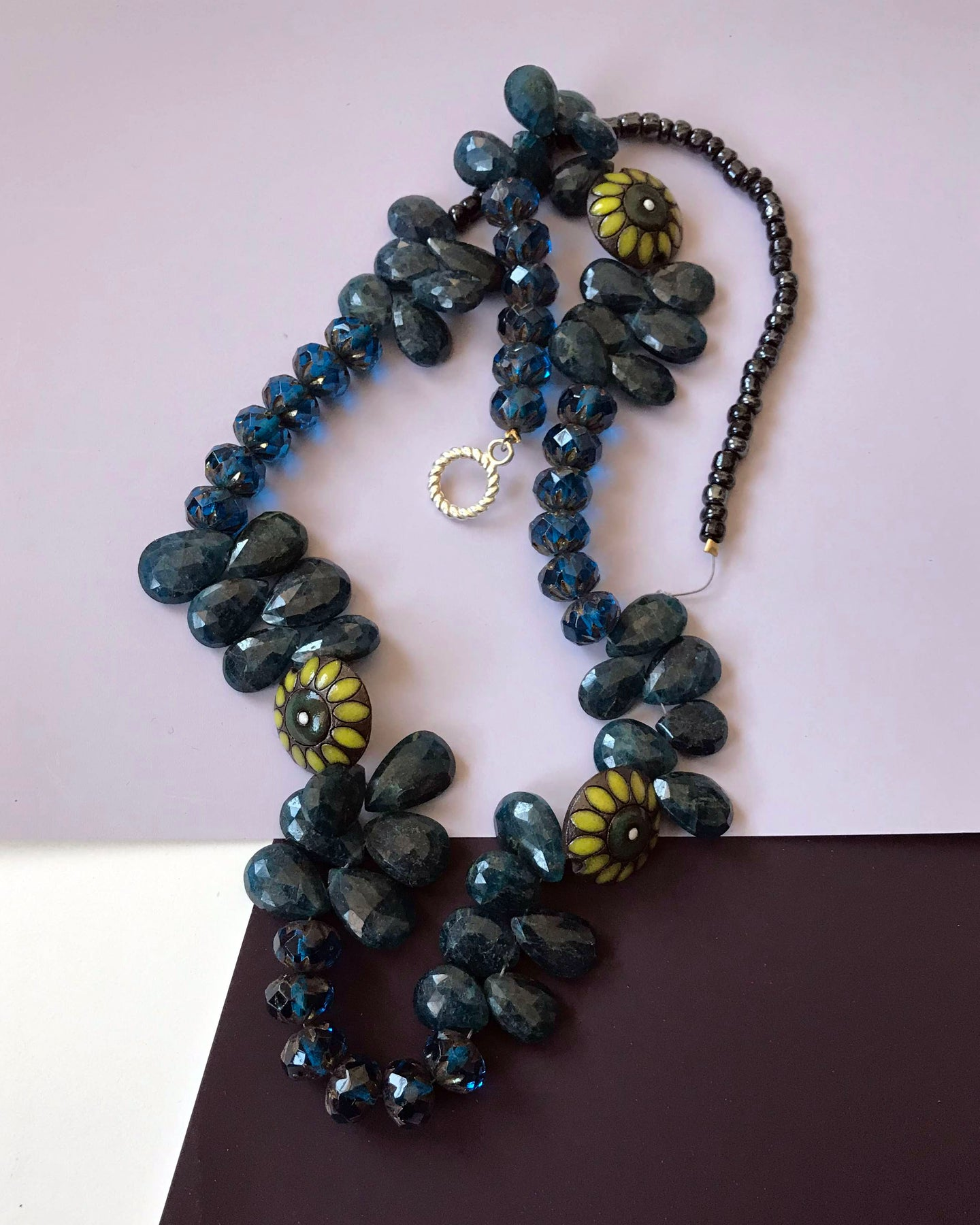 Blue beaded crystal necklace