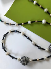 Load image into Gallery viewer, Necklace with alternating pattern of small freshwater pearls.