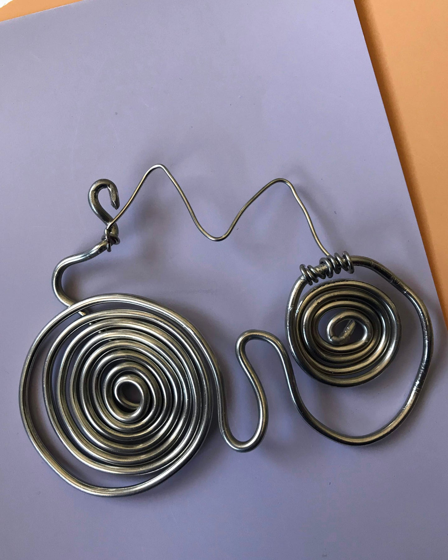 Silver-toned Double Spiral Pendant Which can be Worn as a Necklace