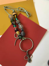 Load image into Gallery viewer, Beaded Neclace with Antique Tibetan Silver Pendant