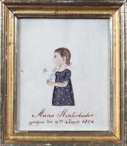A WATERCOLOR AND INK PORTRAIT OF A YOUNG GIRL