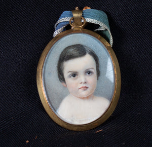 MINIATURE PORTAIT ON IVORY OF A YOUNG CHILD