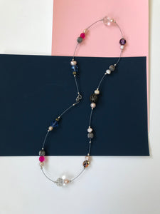 Necklace with Clustered Pearl, Glass and MetalBeads
